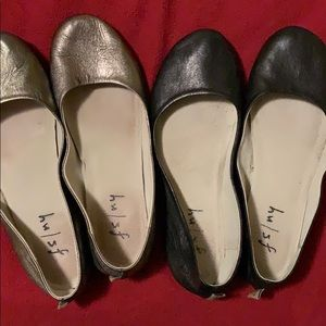 Shoes - One pair gold and one pair black ballet flats.